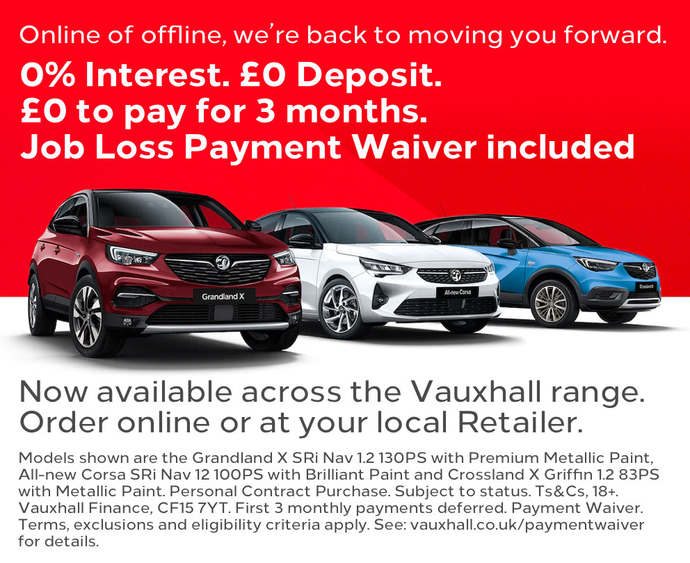Vauxhall 0% Interest, £0 Deposit, £0 to pay for 3 months Offer