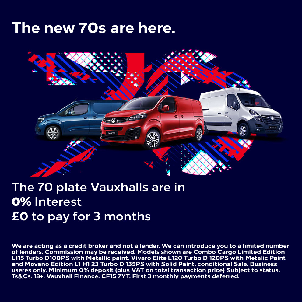 New 70 Plate Vauxhall Vans - 0% Interest plus £0 to pay for 3 Months